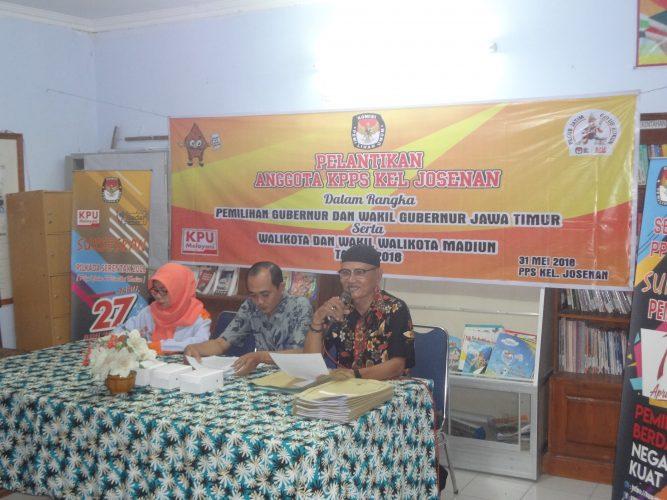 Pelantikan Anggota KPPS Dalam Rangka Pemilihan Gubernur Dan Wakil Gubernur Jawa Timur Serta Walikota Dan Wakil Walikota Madiun Tahun 2018.
