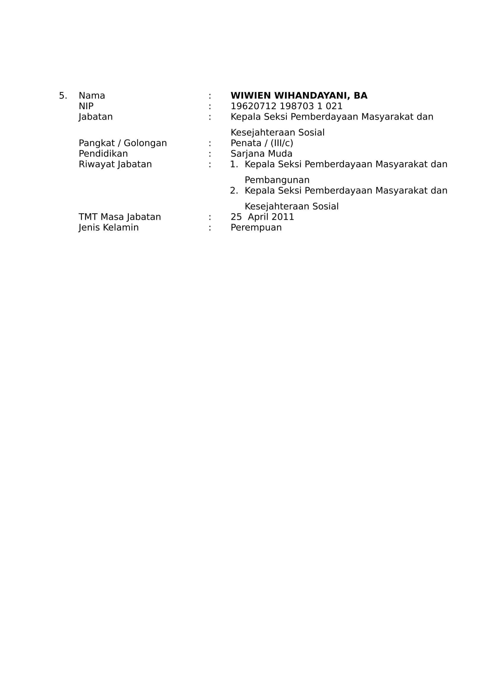 Daftar Nama Pejabat Struktural - Kelurahan Josenan